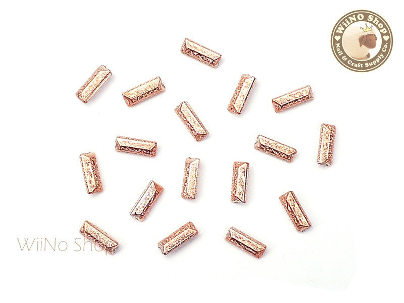 7 x 3mm Rose Gold Textured Rectangle 3D Point Back Rhinestone - 10 pcs