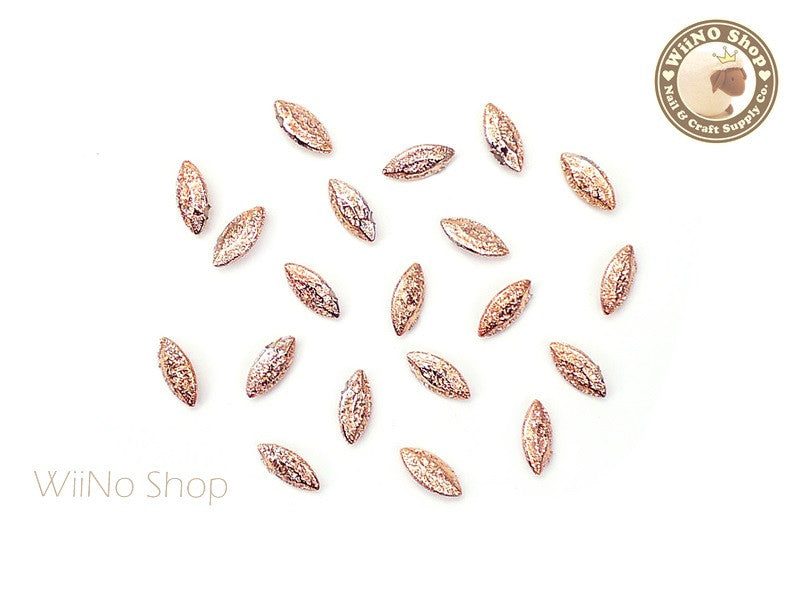 6 x 3mm Rose Gold Textured Marquise 3D Point Back Rhinestone - 10 pcs