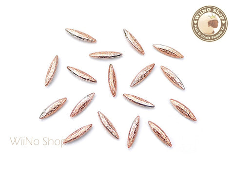 11 x 3mm Rose Gold Textured Marquise 3D Point Back Rhinestone - 10 pcs