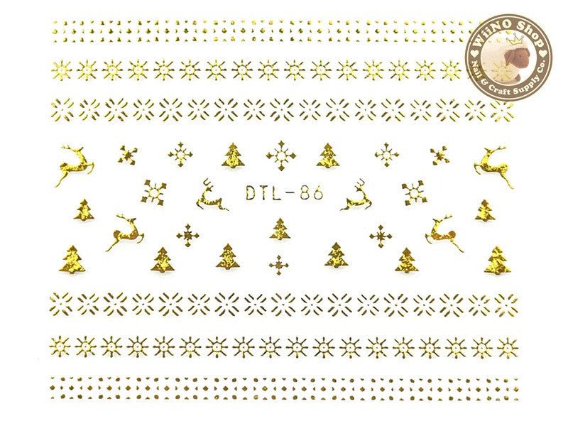 Gold Snowflake Pattern Nail Art Sticker - 1 pc (DTL-86G)