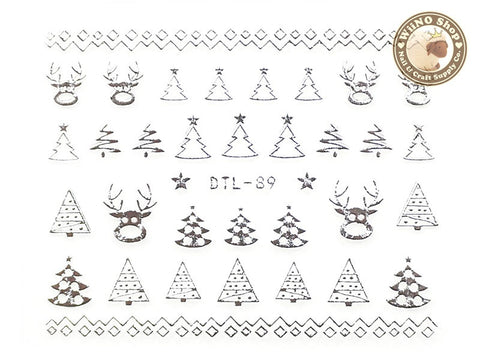 Silver Christmas Tree Reindeer Nail Art Sticker - 1 pc (DTL-89S)