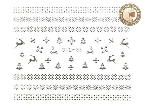 Silver Snowflake Pattern Nail Art Sticker - 1 pc (DTL-86S)