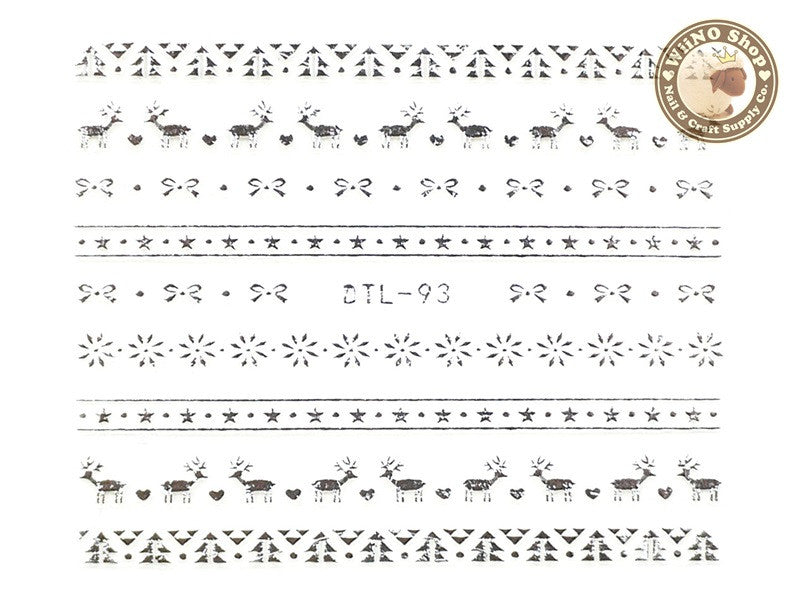 Silver Christmas Reindeer Pattern Nail Art Sticker - 1 pc (DTL-93S)