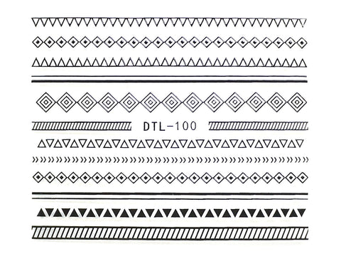Black Geometric Pattern Nail Art Sticker - 1 pc (DTL-100B)