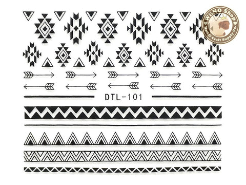 Black Arrow Geometric Pattern Nail Art Sticker - 1 pc (DTL-101B)