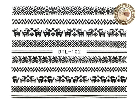 Black Winter Sweater Pattern Nail Art Sticker - 1 pc (DTL-102B)
