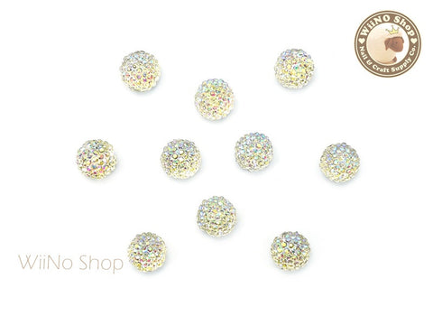 6mm AB Clear 3D Acrylic Rhinestone Ball Cabochon - 5 pcs