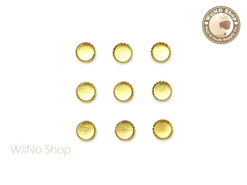 3mm Gold Round Frame Setting Nail Art Decoration - 10 pcs