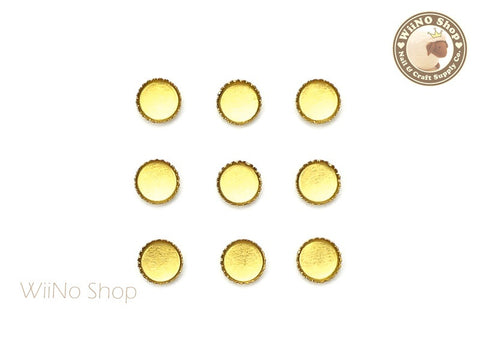 4mm Gold Round Frame Setting Nail Art Decoration - 10 pcs