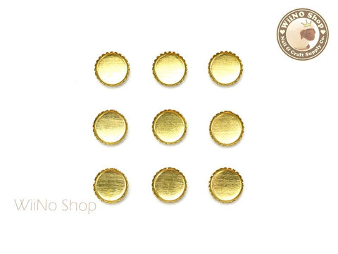 5mm Gold Round Frame Setting Nail Art Decoration - 10 pcs