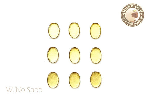 4 x 6mm Gold Oval Frame Setting Nail Art Decoration - 10 pcs