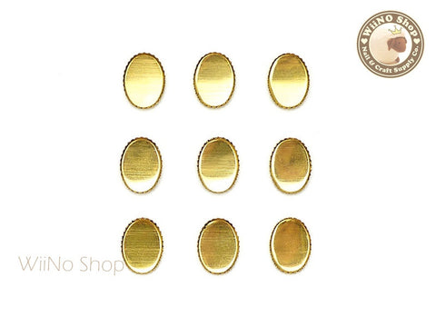 6 x 8mm Gold Oval Frame Setting Nail Art Decoration - 10 pcs