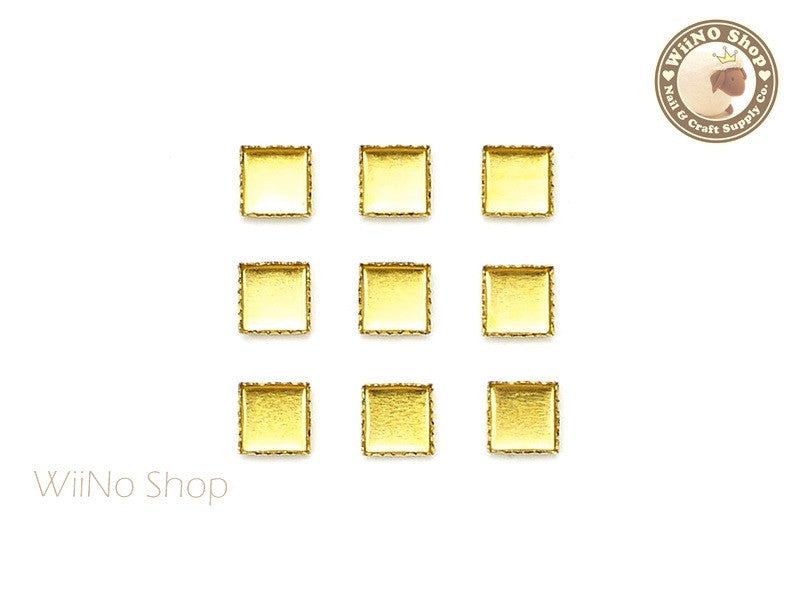4mm Gold Square Frame Setting Nail Art Decoration - 10 pcs