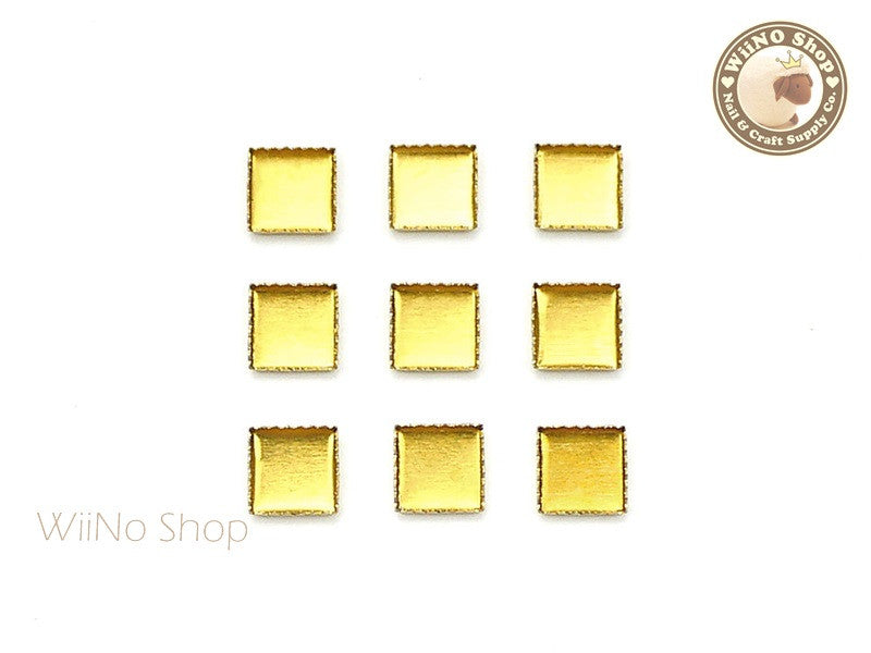 5mm Gold Square Frame Setting Nail Art Decoration - 10 pcs