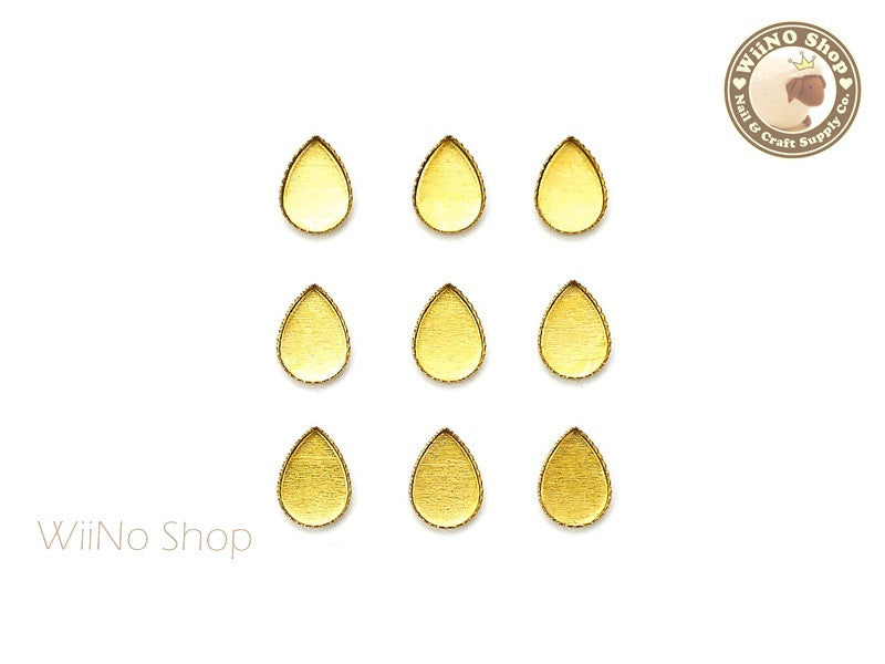 4 x 6mm Gold Drop Frame Setting Nail Art Decoration - 10 pcs