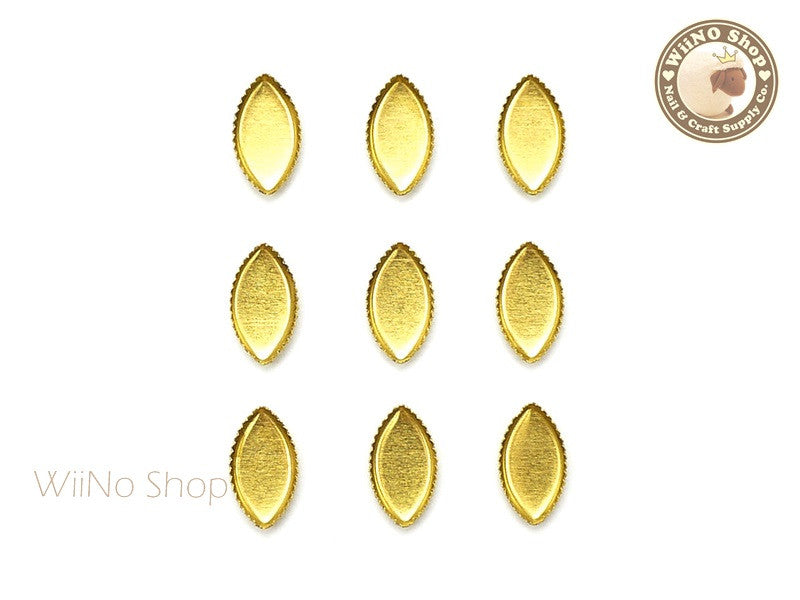 4 x 8mm Gold Marquise Frame Setting Nail Art Decoration - 10 pcs