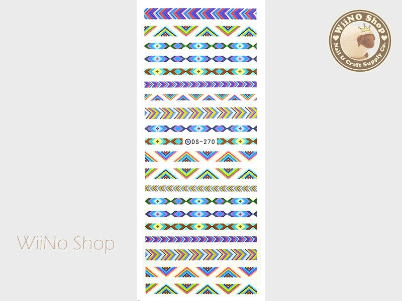 Native Peyote Pattern Water Slide Nail Art Decals - 1 pc (DS-270)