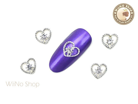 Silver Love in Heart Nail Metal Charm Nail Art - 2 pcs