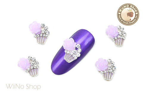 Purple Rose Cupcake Nail Metal Charm - 2 pcs