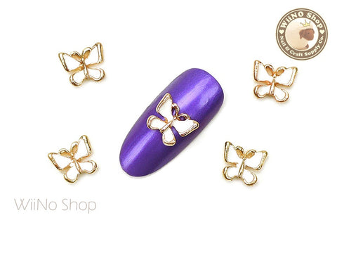 White Butterfly Nail Metal Charm - 2 pcs