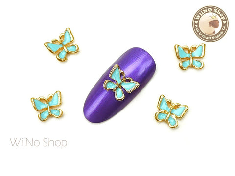 Turquoise Butterfly Nail Metal Charm - 2 pcs