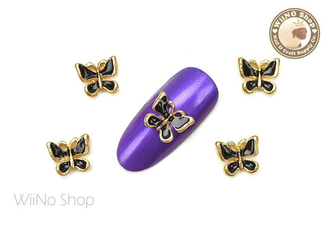 Black Butterfly Nail Metal Charm - 2 pcs