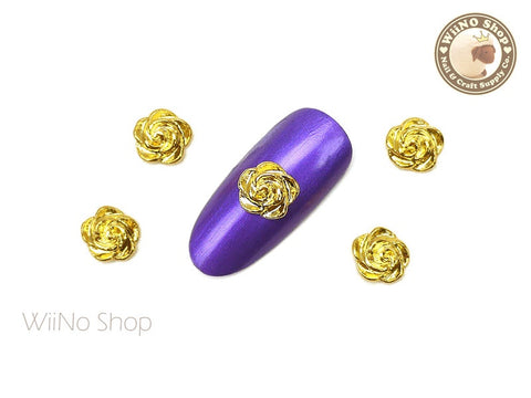 Gold Rose 7mm Nail Metal Charm - 2 pcs