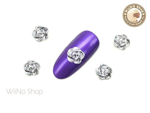 Silver Rose 7mm Nail Metal Charm - 2 pcs