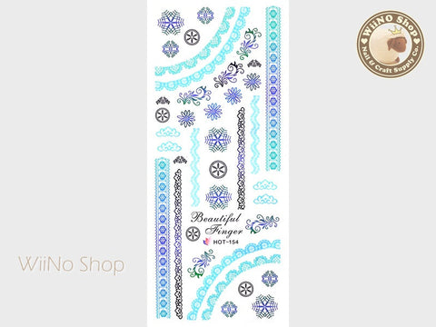 Blue Gradient Lace Pattern Water Slide Nail Art Decals - 1pc (HOT-154)