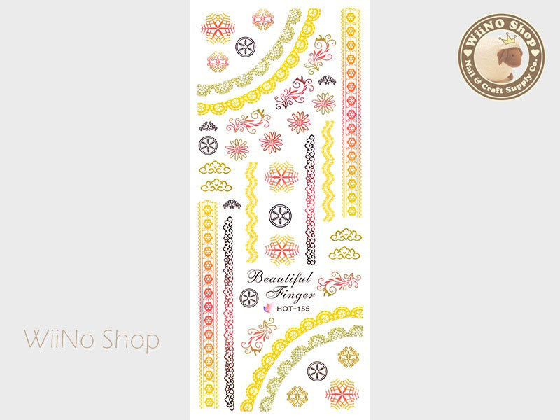 Yellow Gradient Lace Pattern Water Slide Nail Art Decals - 1pc (HOT-155)