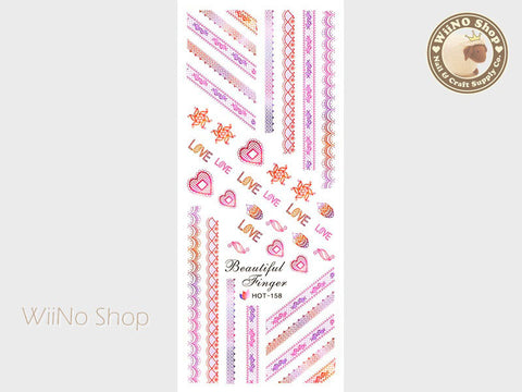 Pink Gradient Lace Pattern Water Slide Nail Art Decals - 1pc (HOT-158)