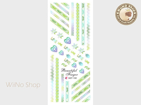 Green Gradient Lace Pattern Water Slide Nail Art Decals - 1pc (HOT-159)