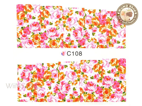 Floral Pattern Water Slide Nail Art Decals - 1 pc (C108)