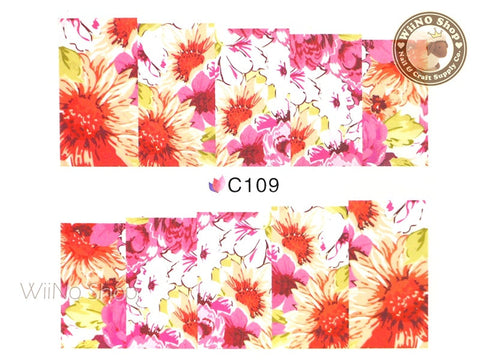 Floral Pattern Water Slide Nail Art Decals - 1 pc (C109)