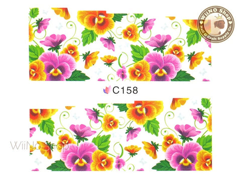 Floral Pattern Water Slide Nail Art Decals - 1 pc (C158)