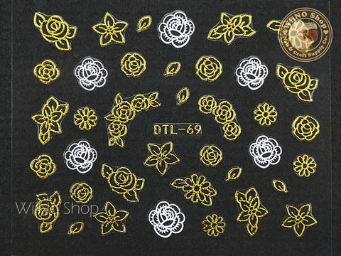 Gold White Flower Nail Art Sticker - 1 pc (DTL-69G)
