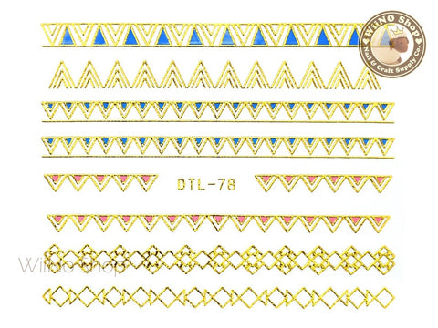Gold Color Triangle Pattern Nail Art Sticker - 1 pc (DTL-78G)