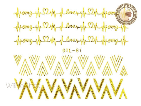 Gold V Heartbeat Pattern Nail Art Sticker - 1 pc (DTL-81G)