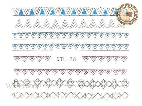Silver Color Triangle Pattern Nail Art Sticker - 1 pc (DTL-78S)