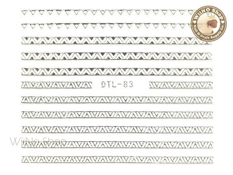 Silver Triangle Pattern Nail Art Sticker - 1 pc (DTL-83S)