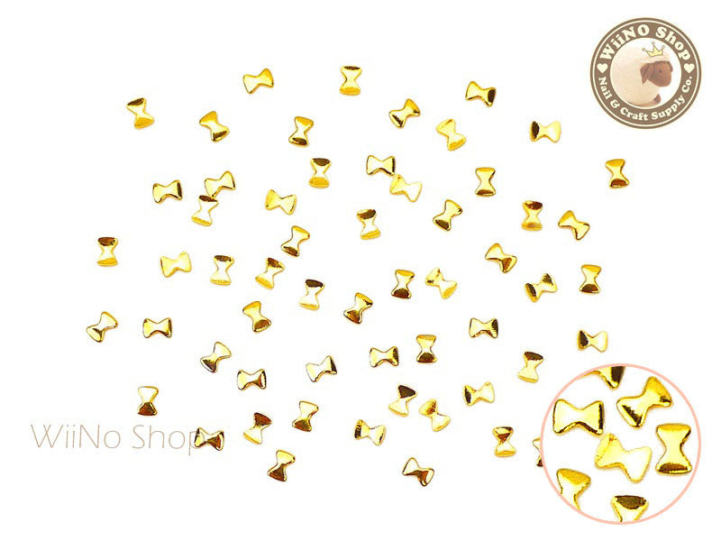 2 x 3mm Gold Mini Bow Metal Studs - 25 pcs
