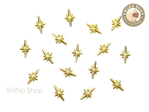 Gold Shine Star Metal Studs - 10 pcs