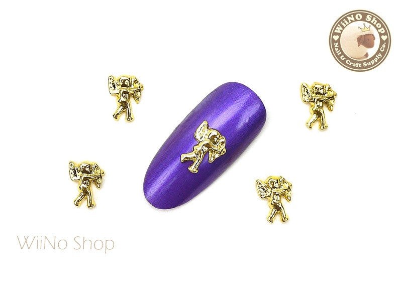 Gold Cupid Nail Metal Charm - 2 pcs