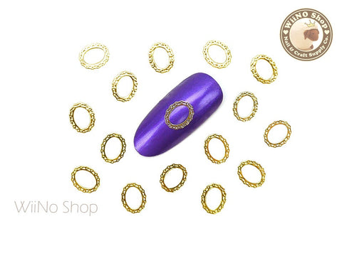 Gold Lace Oval Frame Ultra Thin Metal Decoration Nail Art - 25 pcs