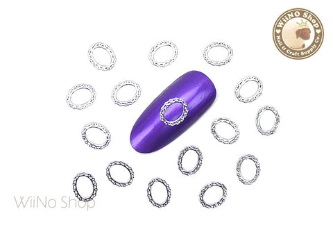 Silver Lace Oval Frame Ultra Thin Metal Decoration Nail Art - 25 pcs