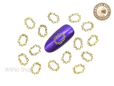 Gold Victorian Oval Frame Ultra Thin Metal Decoration Nail Art - 25 pcs