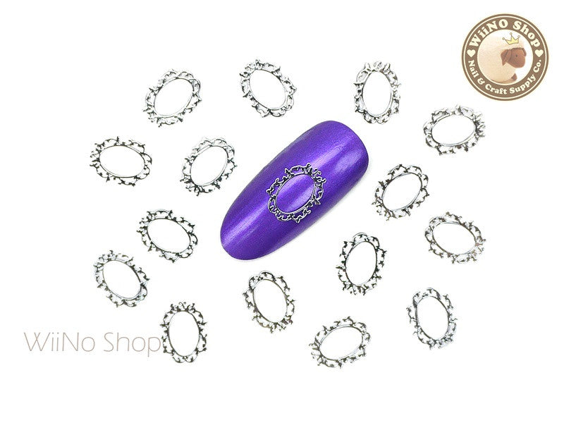Silver Victorian Oval Frame Ultra Thin Metal Decoration Nail Art - 25 pcs