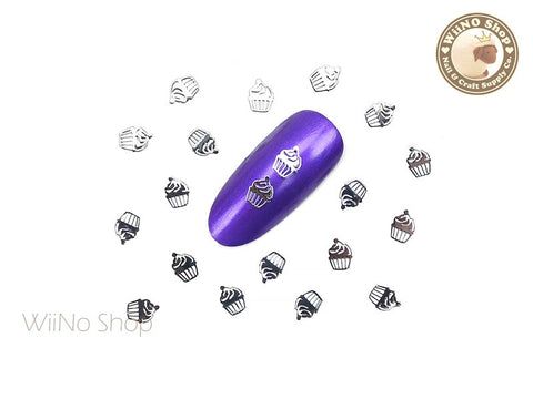 Silver Cupcake Ultra Thin Metal Decoration Nail Art - 25 pcs