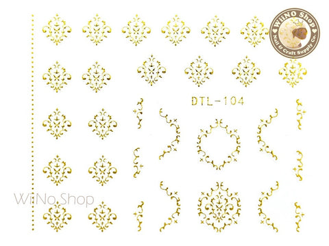 Gold Damask Adhesive Nail Art Sticker - 1 pc (DTL-104G)