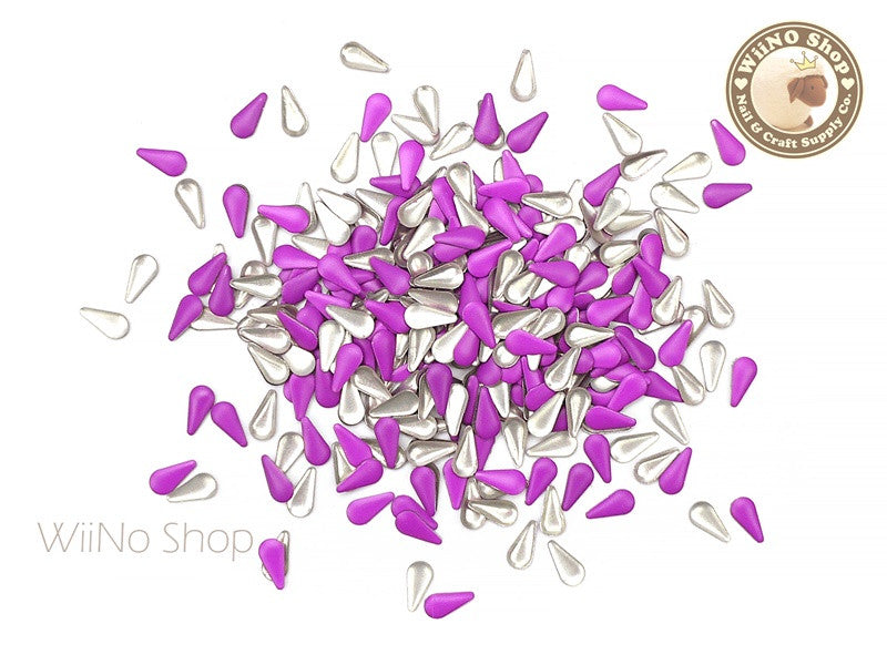 3 x 6mm Purple Color Drop Metal Studs - 100 pcs